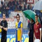 الامطار تتسبب فى ايقاف مباراة روما وبارما فى الدورى الايطالى