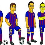 نجوم برشلونة ينضمون الى عائلة سيمبسون الكرتونية