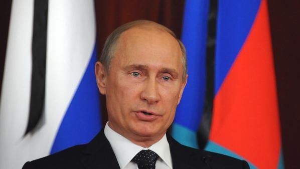 Russia's President Vladimir Putin addres