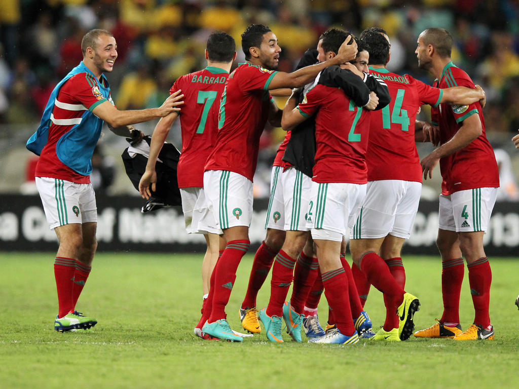DURBAN, SOUTH AFRICA - JANUARY 27, Morocco celebrate their second goal during the 2013 Orange African Cup of Nations match between South Africa and Morocco from Moses Mabhida Stadium on January 27, 2013 in Durban, South Africa. (Photo by Anesh Debiky / Gallo Images/Getty Images)