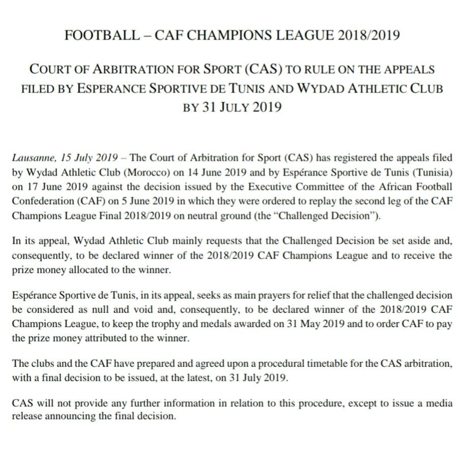 أخيرًا.. المحكمة الدولية تتخذ قرارها في نهائي دوري أبطال إفريقيا